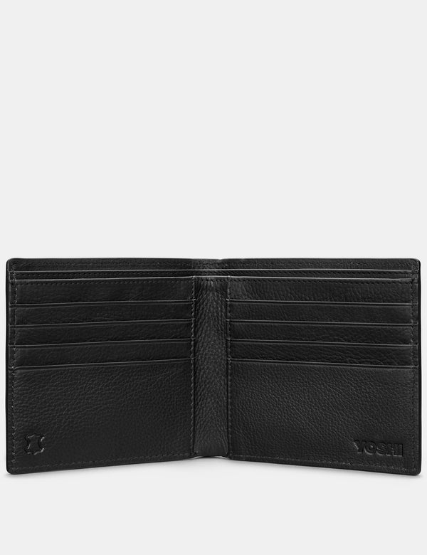 Yoshi Mens Two Fold East West Leather Wallet - Black (Y2039 17 1) - Lucks of Louth