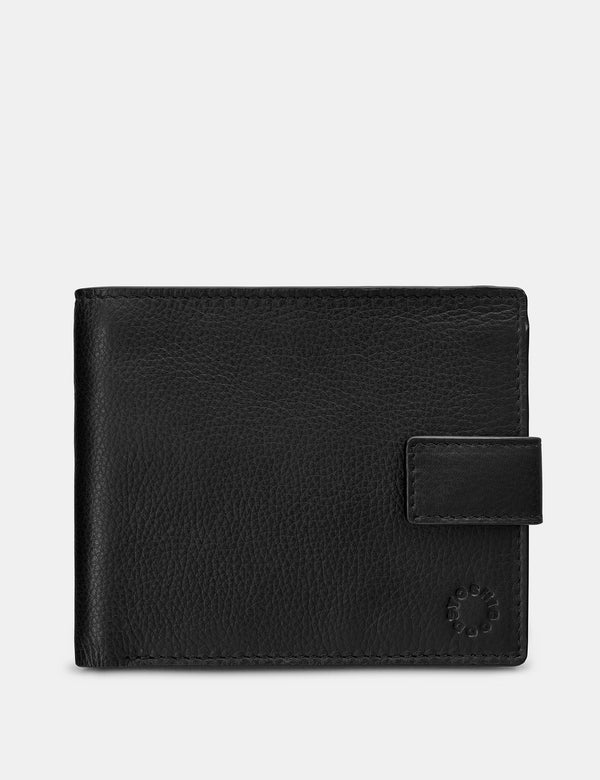 Yoshi Mens Two Fold Leather Wallet With Tab - Black (Y2475 17 1) - Lucks of Louth