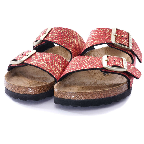 Birkenstock Arizona Shiny Python, Red/Gold - Lucks of Louth