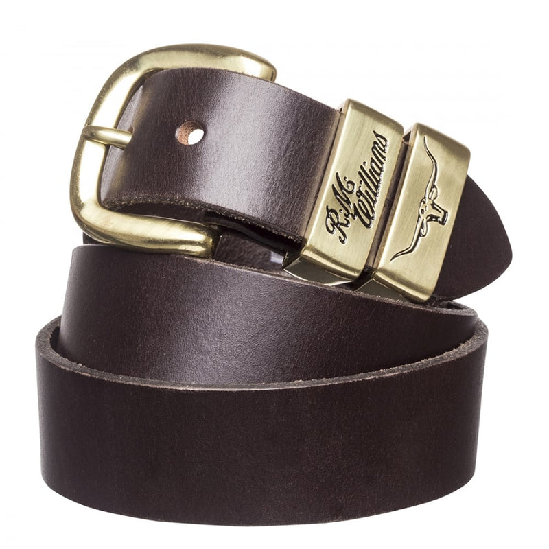 RM Williams Solid Hide Work Belt - Chestnut & Gold Coloured Buckle - Lucks of Louth