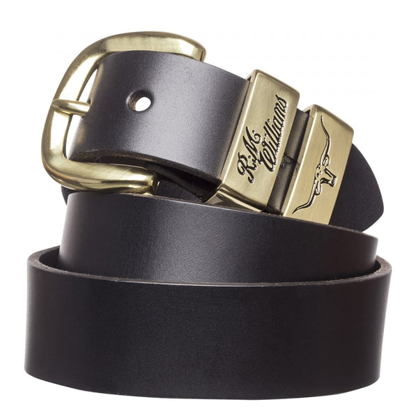 RM Williams Solid Hide Work Belt - Black