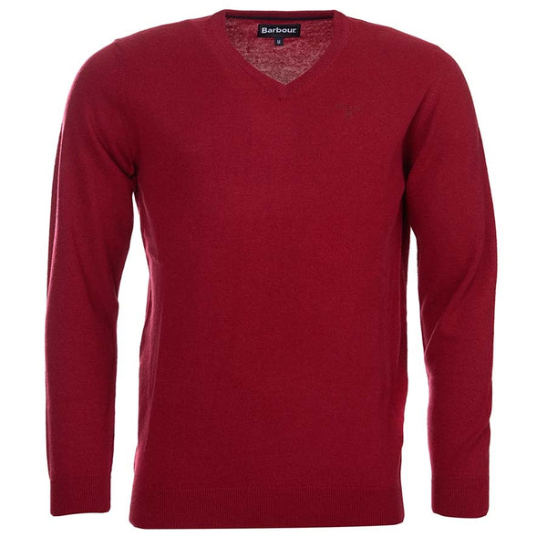Barbour Essential Lambswool V Neck - Biking Red - Lucks of Louth