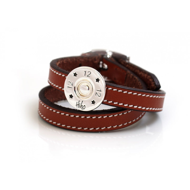 Hiho Silver Sterling Silver Shotgun Cartridge Double Leather Strap Bracelet - Lucks of Louth