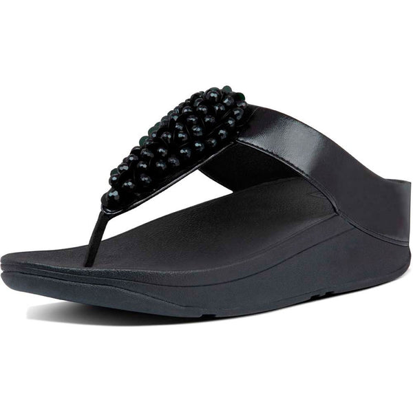 Fitflop Fino Sequin Toe Thong Sandals - All Black - Lucks of Louth