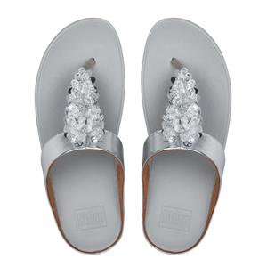 Fitflop Fino Sequin Toe-Thong Sandal - Silver - Lucks of Louth
