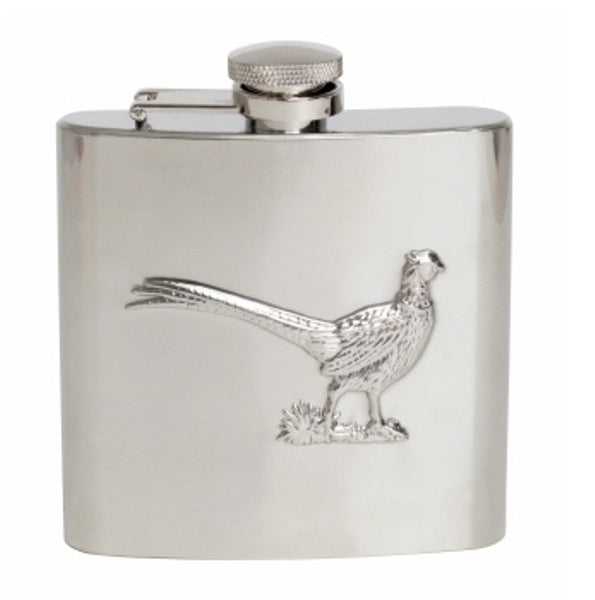 Pheasant Hipflask - Stainless Steel - Lucks of Louth