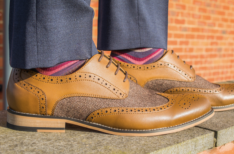 Cavani Horatio Tweed Brogue Shoe - Tan - Lucks of Louth