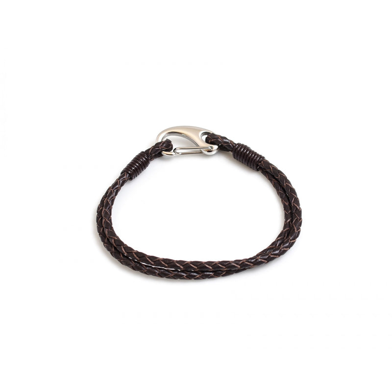 Hiho Silver Leather Bracelet Plaited with Stainless Steel Clasp - Lucks of Louth