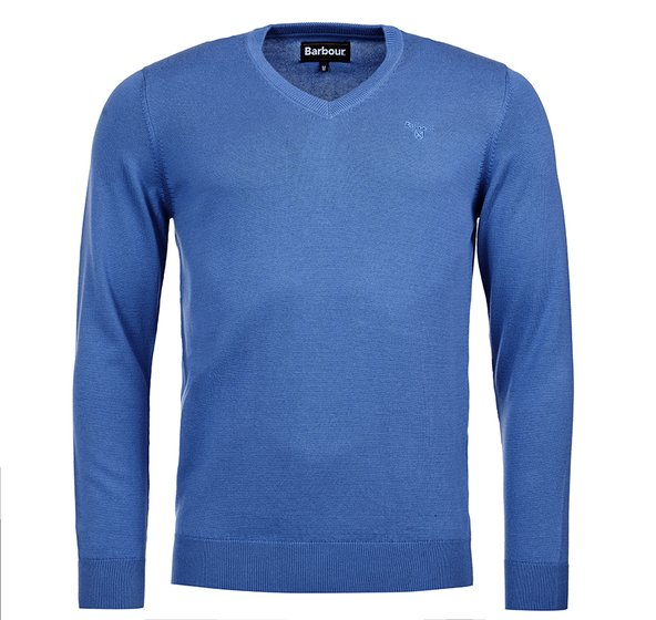 Barbour Pima Cotton V-Neck Jumper - Cobalt Marl - Lucks of Louth