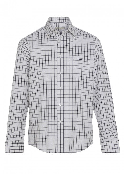 RM Willliams Collins Shirt - White and Navy - Lucks of Louth