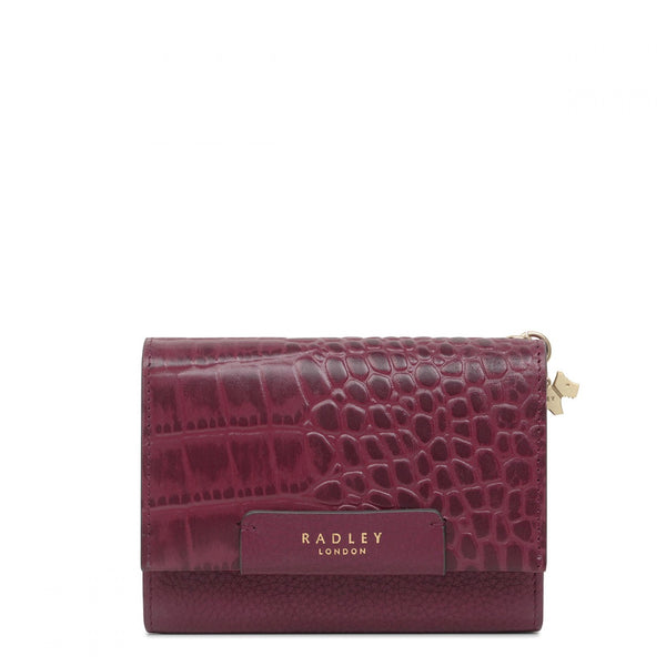 Radley Arlington Court Faux Croc Medium Flapover Purse - Burgundy - Lucks of Louth