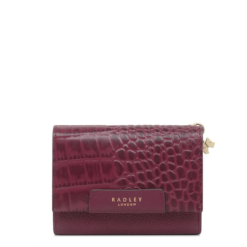 Radley London Arlington Court Faux Croc Medium Flapover Purse - Burgundy - Lucks of Louth