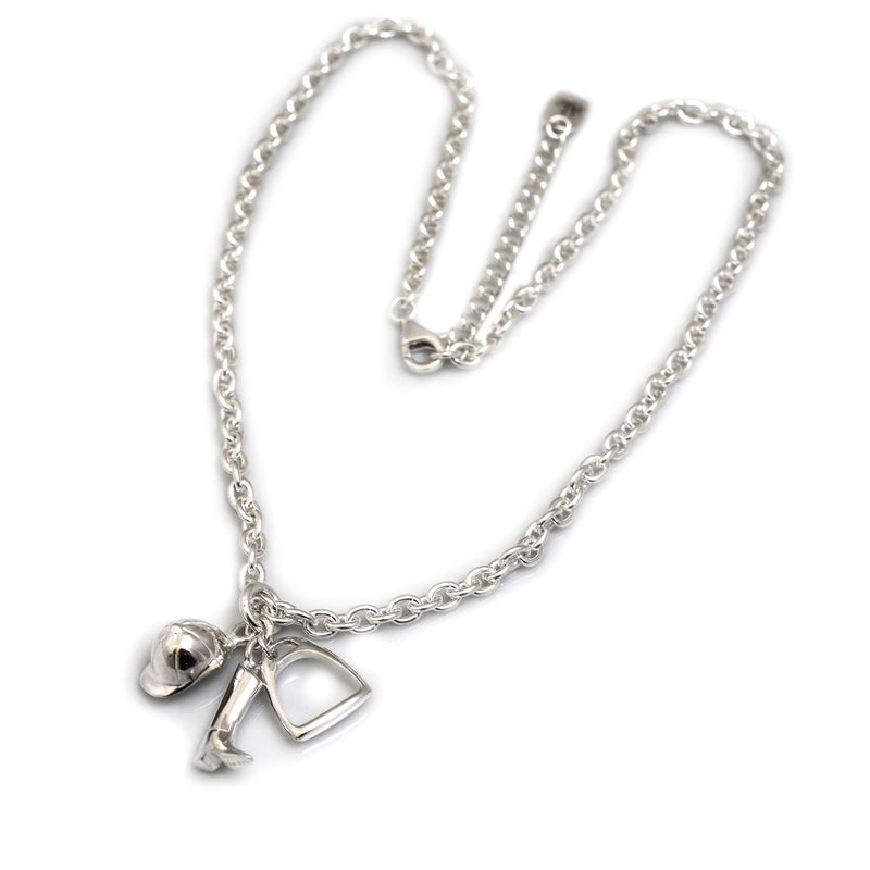 Hiho Silver Sterling Silver Fob Necklace With Equestrian Charms - Lucks of Louth