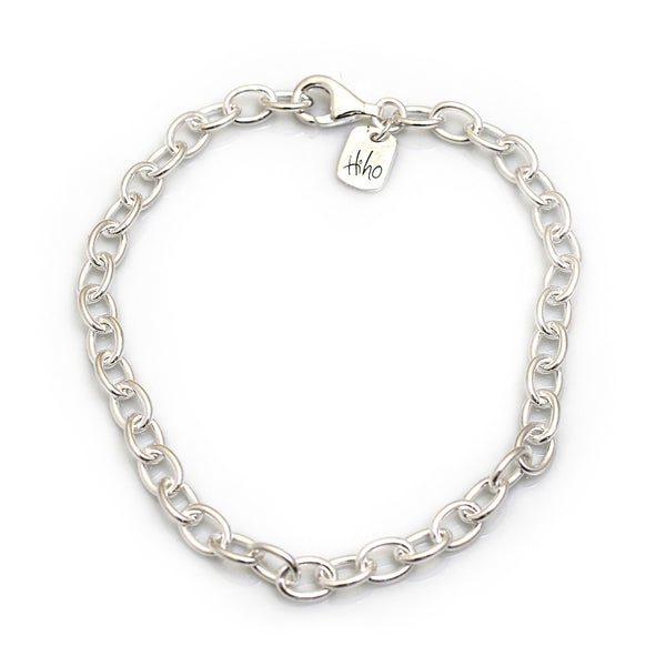 Hiho Silver Sterling Silver Oval Linked Fob Bracelet - Lucks of Louth