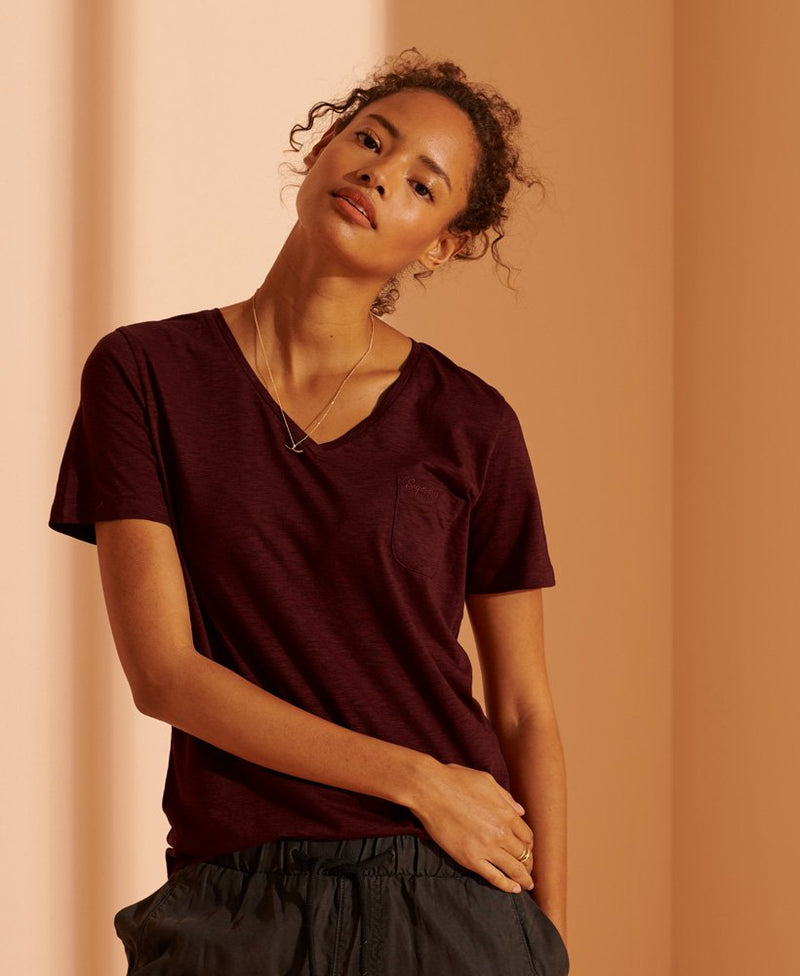 Superdry Organic Cotton Scripted V-Neck T-Shirt - Deep Port - Lucks of Louth