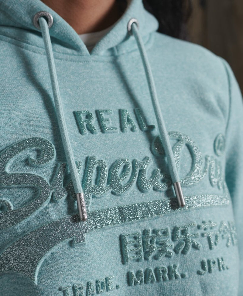Superdry Womans Vintage Logo Embossed Glitter Hoodie-Mint - Lucks of Louth