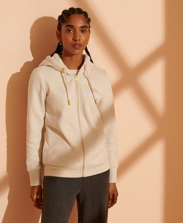 Superdry Established Zip Hoodie - Oatmeal Marl - Lucks of Louth