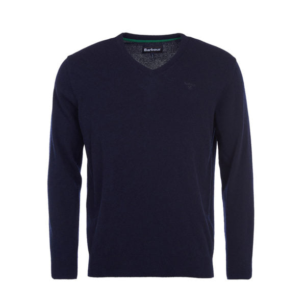 Barbour Essential Lambswool V Neck Sweater - Navy - Lucks of Louth