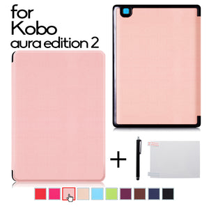 Ultra Slim PU leather case cover for 2016 new Kobo Aura Edition 2 6'' Ereader protective case cover + protector film + stylus