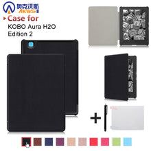 "Ultra slim cover case for 2017 Kobo aura H2O edition 2 6.8"" water proof ereader PU leather case+free gift"