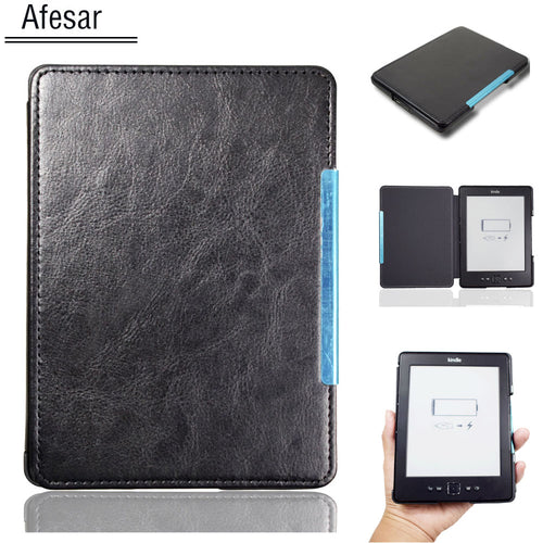 New style pu leather Magnet Cover Case for Amazon Kindle 4 Kindle 5 ebook eReader pouch D01100 4th 5th flip case protective film
