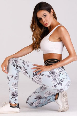 Skyblue Rose Leggings