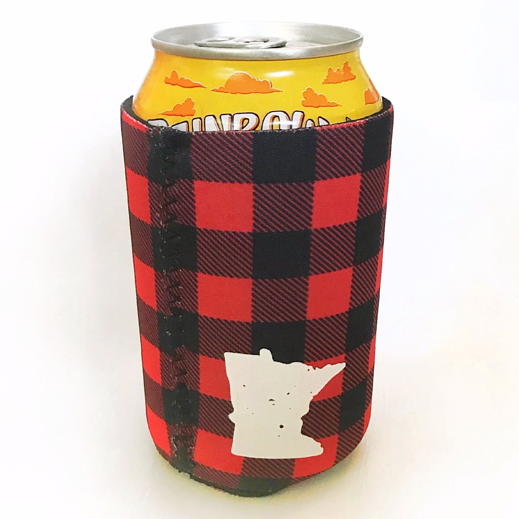 Lakes Co buffalo plaid can coozie