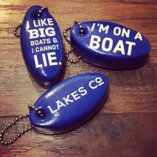 I'm on a boat floating key chain.  made by Lakes Company