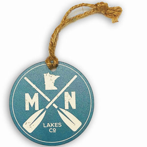 Lakes Company teal with white paddle design Christmas ornament