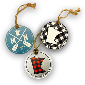Get all three of Lakes Company Christmas ornaments one of each design