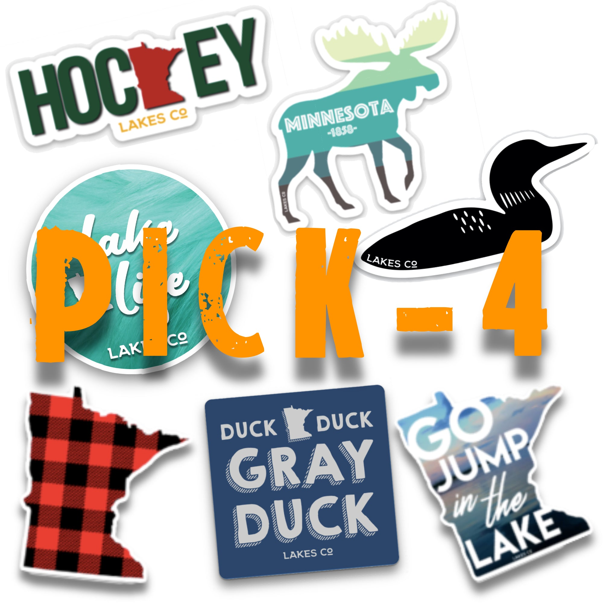 Pick 4 - Lakes Co. - Stickers