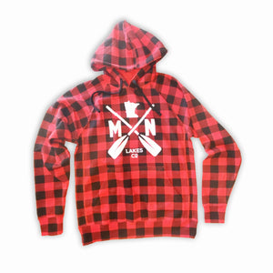 Buffalo Plaid Hoodie with Paddles