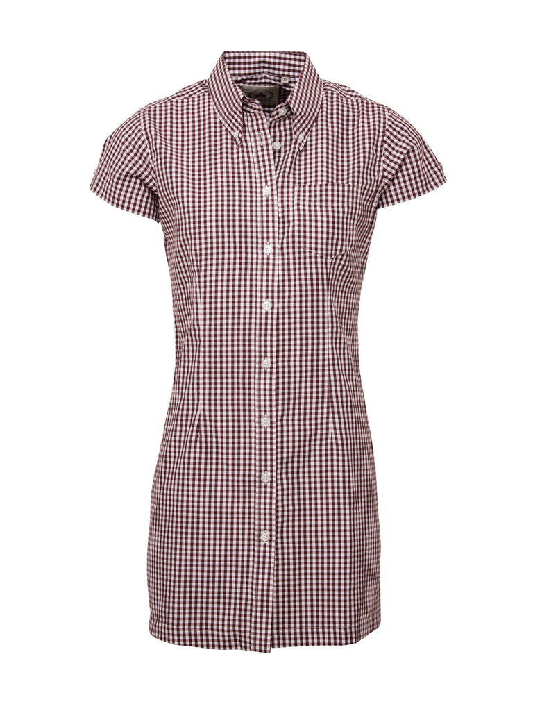 Ladies long dress shirt - Gingham Burgundy