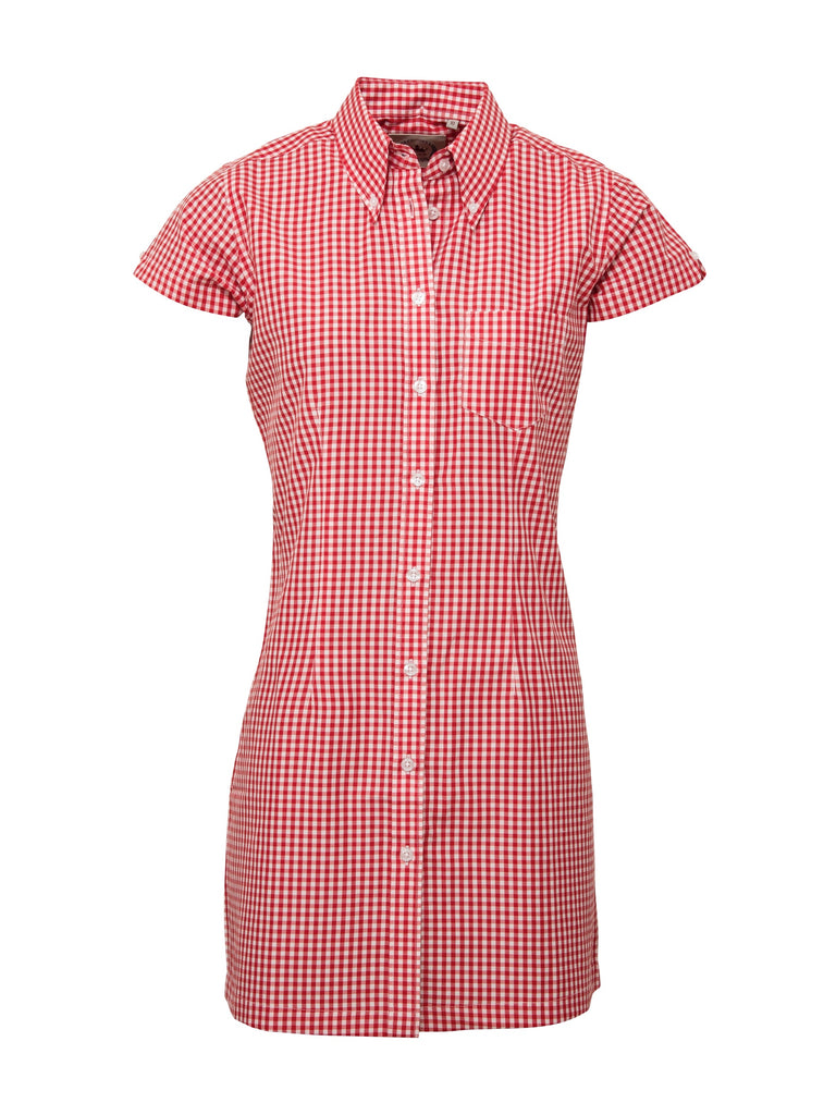 Ladies long dress shirt - Gingham Red