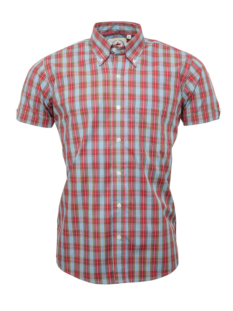 Sky Blue and Red Check Shirt- CK-35
