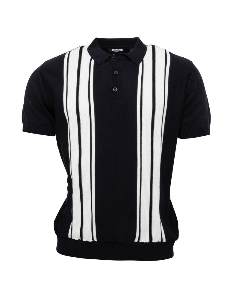 Mens Knitted Polo - Navy/White