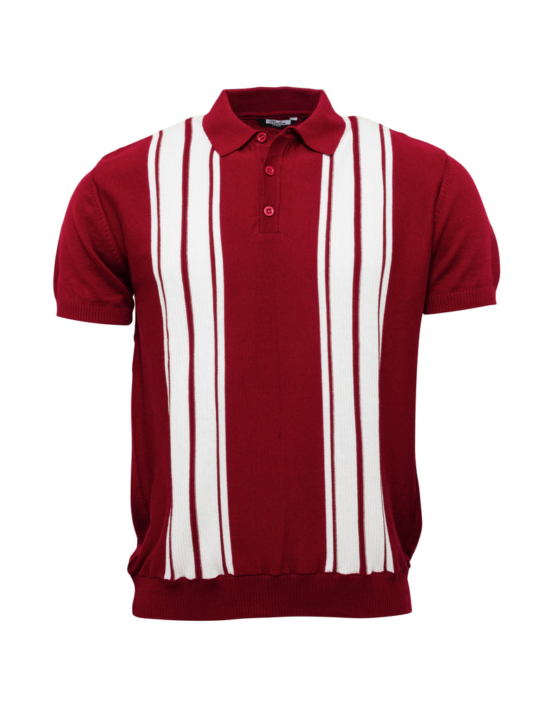 Mens Knitted Polo - Burgundy/White