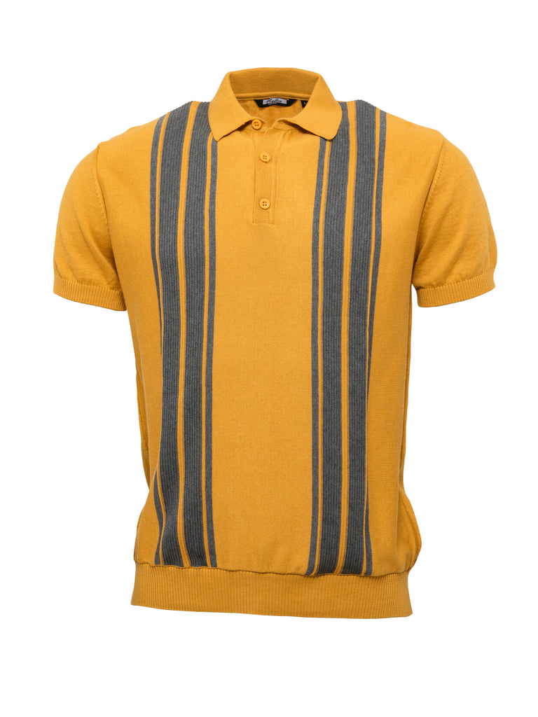 Mens Knitted Polo - Mustard/ Grey
