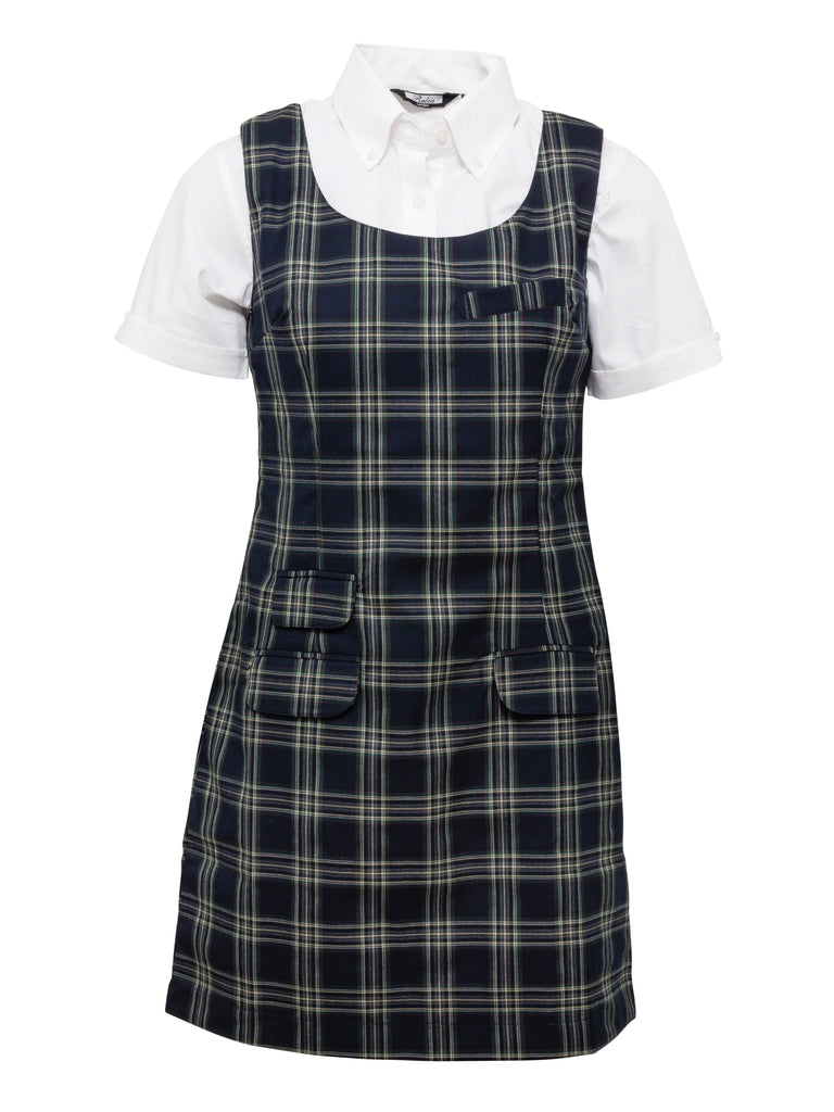 Ladies Navy Tartan Pinafore Dress