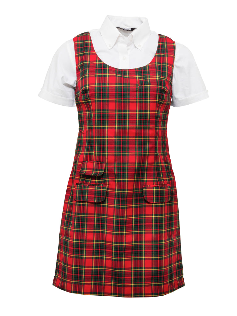 Ladies Red Tartan Pinafore Dress