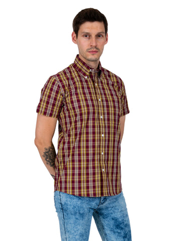 Mens Burgandy & Mustard Check Short Sleeve Vintage Cotton Shirt  - CK 25
