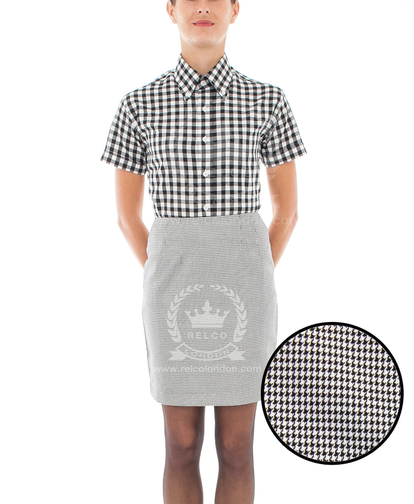 Womens Vintage Dogtooth Skirt in Grey