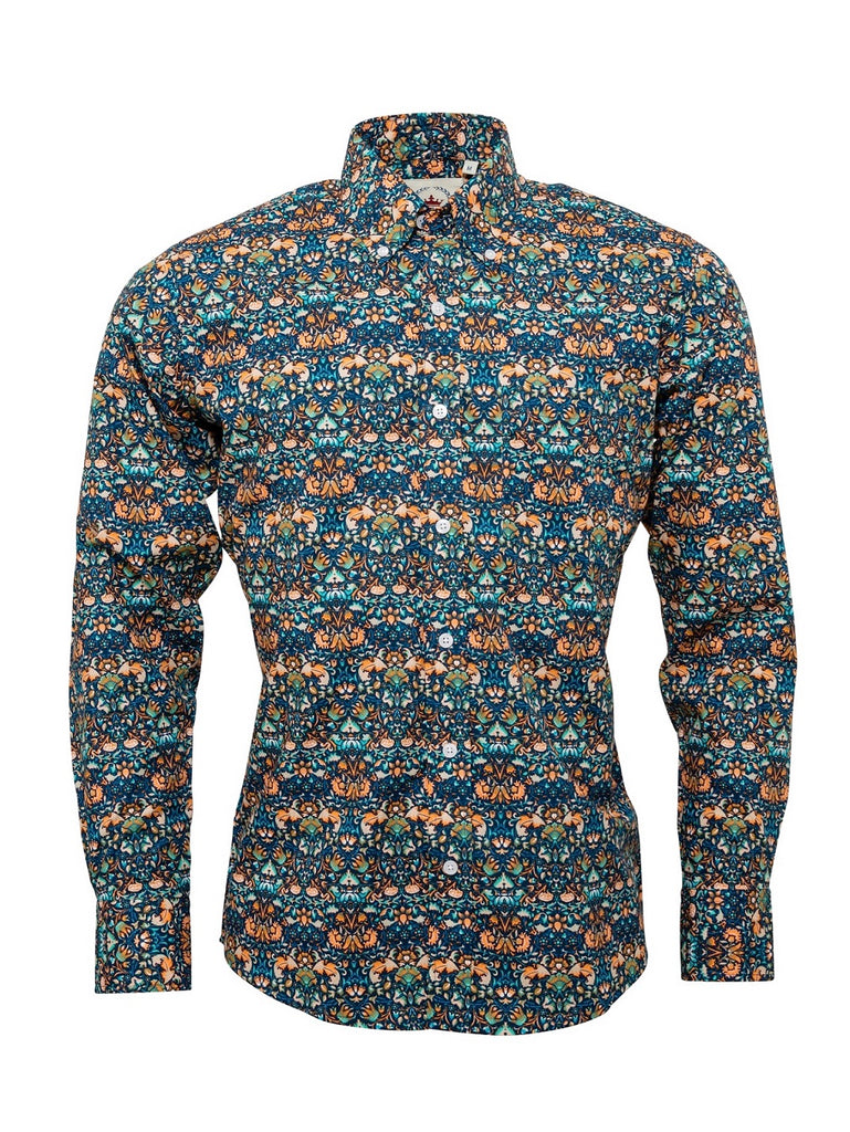 Men's Blue and Orange Floral patterned shirt - FLORAL-17