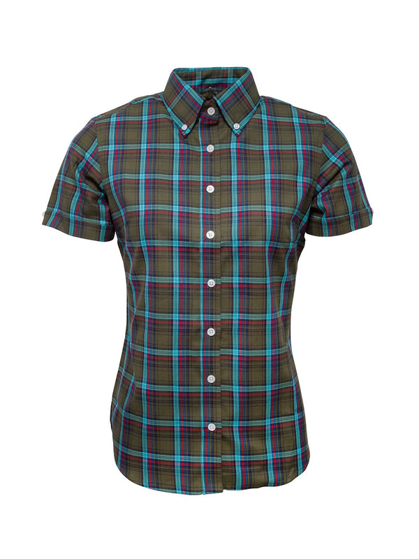 Limited edition Ladies Green check shirt - LSS 16