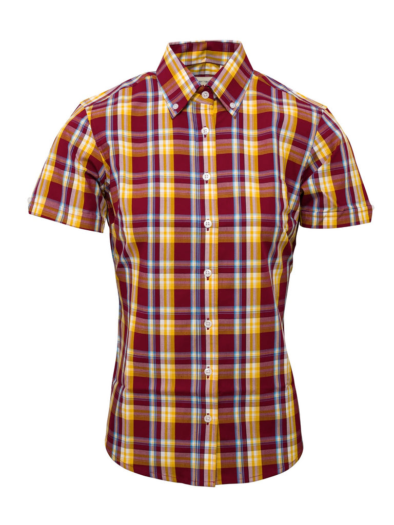 **NEW** Ladies Burgundy & mustard  check shirt - LSS 22