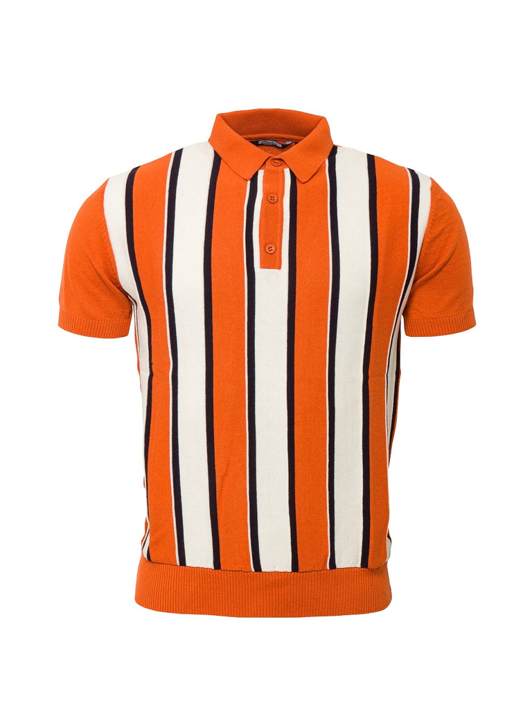 **NEW** Knitted Striped Polo - Burnt Orange - VS-5