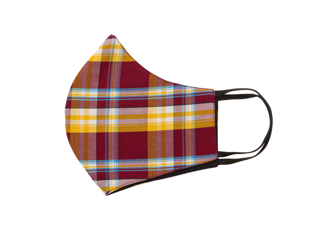 Mask - Burgundy & Mustard Check  CK-45