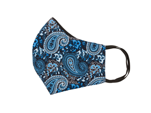 Mask -Blue & black paisley