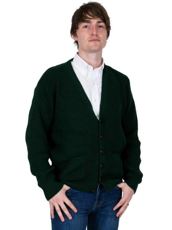Waffle Knit Cardigan - Bottle Green