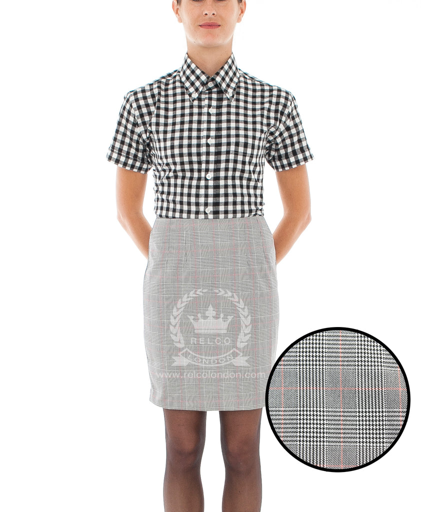 Womens Vintage Prince of Wales Grey Skirt - POW SKIRT